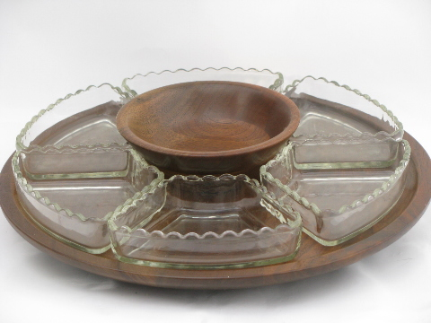 Danish Modern Vintage Walnut Wood Lazy Susan, Glass Relish Trays Set