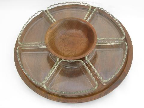 Danish Modern Vintage Walnut Wood Lazy Susan Glass Relish