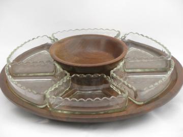 Danish modern vintage walnut wood lazy susan, glass relish trays set