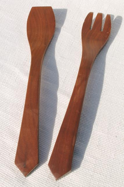 danish modern vintage walnut wood salad bowl servers set, retro 60s mod