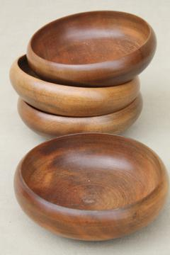 danish modern vintage walnut wood salad bowls, 60s mod minimalist dishes or decor