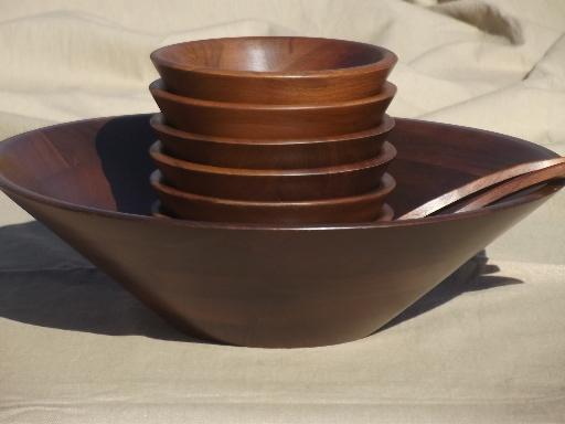 danish modern vintage walnut wood salad bowls set vermillion label - Wooden Salad Bowl Set