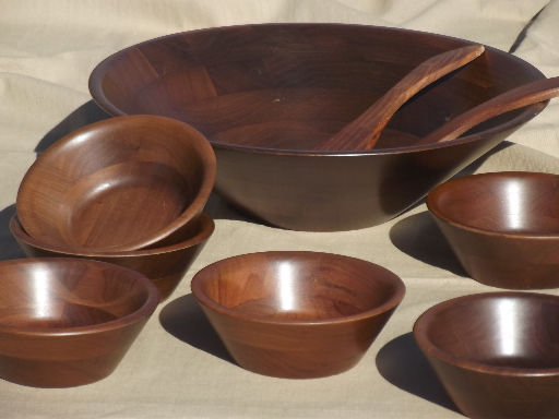 danish modern vintage walnut wood salad bowls set vermillion label