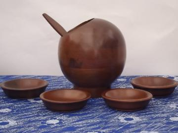 Danish modern vintage wood salad set, round ball serving bowl & salad bowls