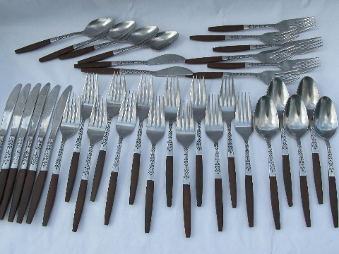 Danish Walnut vintage Interpur stainless flatware, retro 60s mod