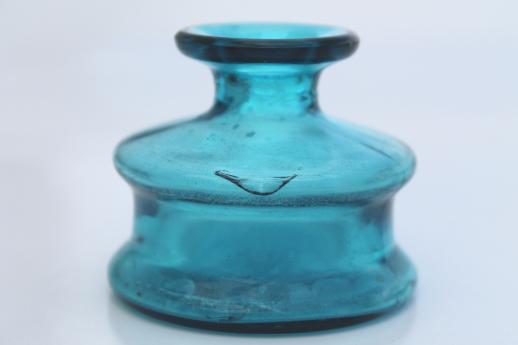 Dansk Blue Glass Ink Bottle Vase Danish Modern Vintage