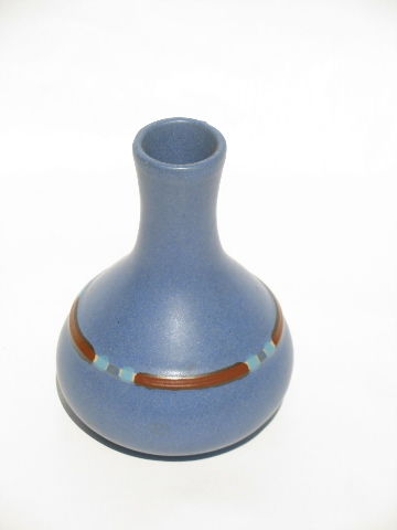 Dansk Pottery Sky Blue Mesa Pattern Flower Bottle Vase Retro Matte