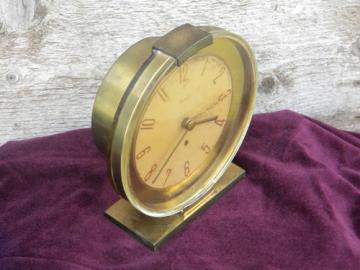 Deco moderne brass and glass clock Westclox Oracle, mid century vintage