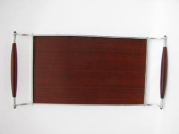 Deco moderne vintage polished rosewood / aluminum serving tray