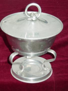 Deco moderne vintage wrought aluminum butter warmer