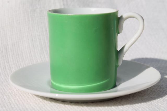 demitasse espresso cups & saucers, 60s mod vintage Japan china set in retro colors