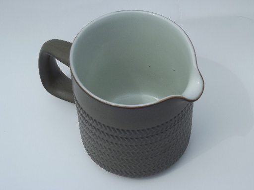 Denby Camelot Pattern Cream Pitcher Matte Green Stoneware