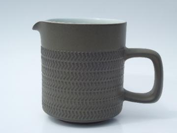 Denby Camelot pattern cream pitcher, matte green stoneware pottery