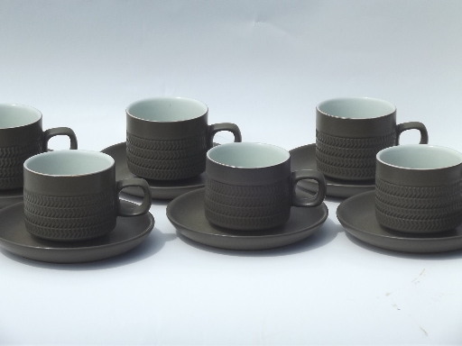 & Denby Camelot pattern cups and saucers matte green stoneware pottery