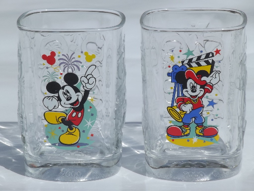 Disney Mickey Mouse Collectible Mcdonald S Glasses From 2000 Set Of 4