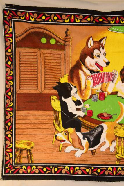 Dogs Playing Poker Vintage Print Cotton Flannel Wall