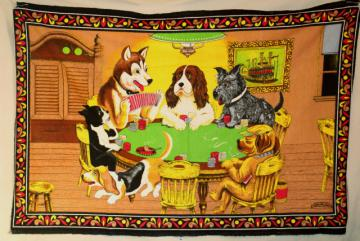 dogs playing poker, vintage print cotton flannel wall hanging for retro rec room or bar