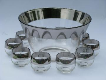 Dorothy Thorpe roly-poly wide silver band vintage glasses, punch bowl set