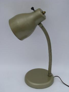 Eames era metal shade gooseneck light desk lamp, vintage 1950s