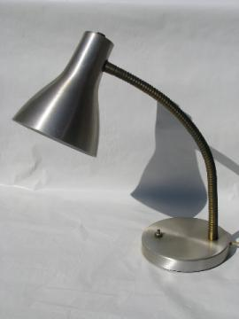 Eames era mod brushed steel gooseneck desk lamp, vintage task light