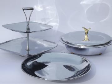Eames era polished chrome serving ware & trays, art deco modern vintage