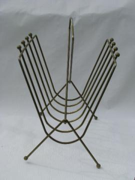 Eames era vintage wire magazine rack stand, retro atomic!