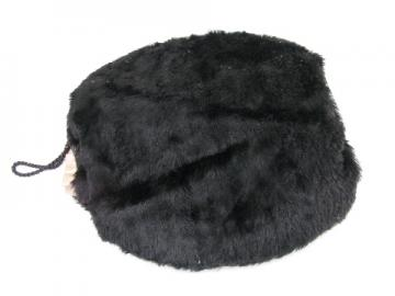 Early 1900's vintage ladies black fur muff w/ wrist loop