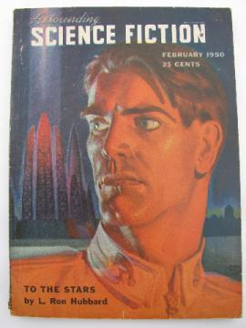 Early 1950s pulp sci-fi magazine Astounding Science Fiction, L. Ron Hubbard