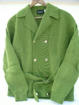 Early 60s vintage men's lime green belted sweater, Campus label