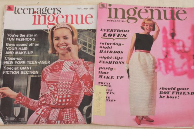 early 60s vintage teen age girl fashion magazines, lot back issues Mademoiselle, Ingenue