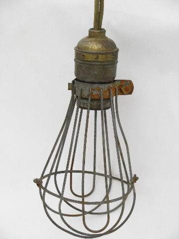 Early Industrial Vintage Drop Pendant Light With Wire