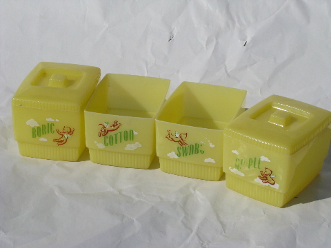 Early plastic vintage Clarolyte containers baby nursery storage boxes