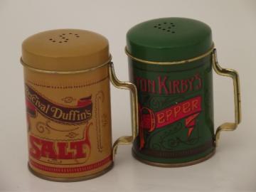 Elton Kirby's pepper & Percival Duffin's salt  shaker tins, vintage Deville