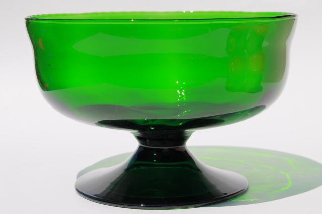 Emerald Green Art Glass Bowl Vintage Hand Blown Glass