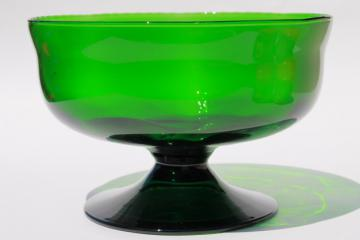 emerald green art glass bowl, vintage hand blown glass compote dish retro forest green color