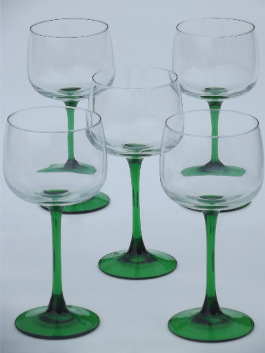 Emerald Green Stem Hock Wine Glasses Cris D 39 Arques French