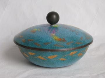 Enamel on copper, large vintage covered bowl w/ oriental design on blue