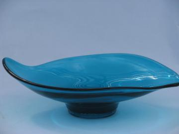 Epic line Viking, vintage West Virginia art glass freeform dish, aqua blue