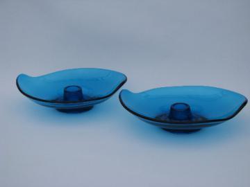 Epic line vintage aqua blue candle sticks, mod Viking glass