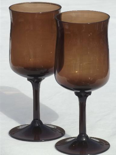 Espresso brown glass wine glasses expression line glasses marked lenox - Lenox colored wine glasses ...