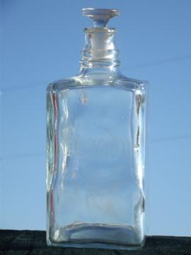 Etched glass Brandy  decanter, old tantalus or bar bottle w/ etched label