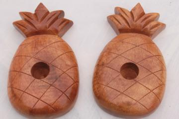 etro tiki pineapple shape tropical wood candle holders, vintage Hawaii pineapples