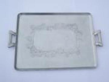Everlast hand forged aluminum tray w/ ivy, mid-century vintage hammered aluminum