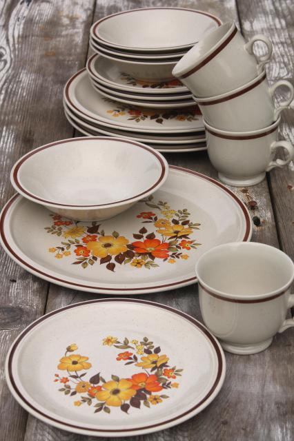 fall flowers vintage dinnerware set, Hearthside stoneware Chablis ...