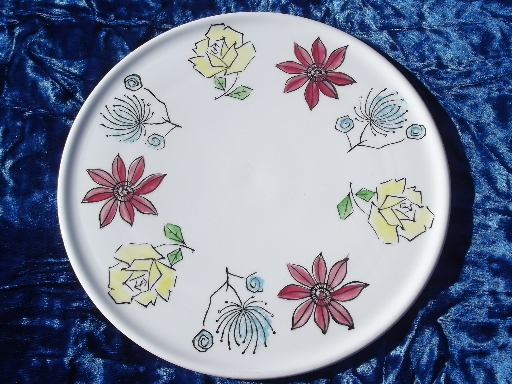 Fiesta flowers vintage cake plate serving tray, hand-painted Japan?