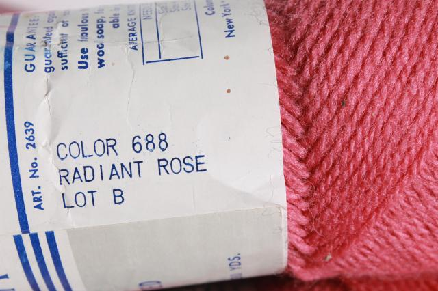 fine wool yarn featherweight knitting worsted vintage Columbia Minerva radiant rose pink