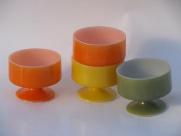 Fired on colored glass footed dishes, retro orange, gold, avocado green