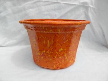 Flame orange spatter glaze planter pot, 70s retro handmade ceramic