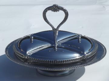 Footed plate w/ covered serving dishes, olives server w/ center handle
