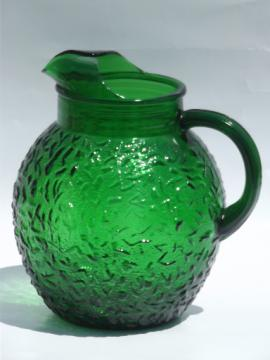 Forest green Soreno glass ball pitcher, retro vintage Anchor Hocking